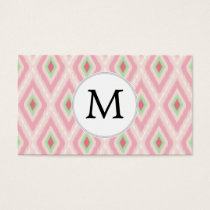 personalized monogram in Ikat Pink and  mint Business Card