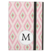 personalized monogram in Ikat Pink and  mint Cover For iPad Air