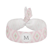 personalized monogram in Ikat Pink and  mint Hair Tie