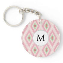 personalized monogram in Ikat Pink and  mint Keychain