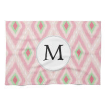 personalized monogram in Ikat Pink and  mint Kitchen Towels
