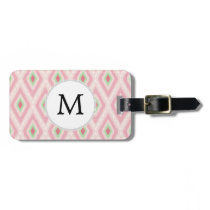 personalized monogram in Ikat Pink and  mint Luggage Tag