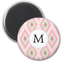 personalized monogram in Ikat Pink and  mint Magnet