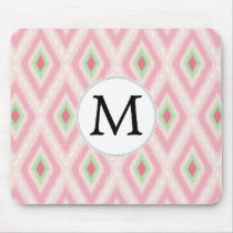 personalized monogram in Ikat Pink and  mint Mouse Pad
