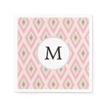 personalized monogram in Ikat Pink and  mint Paper Napkin