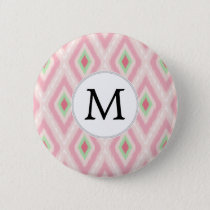 personalized monogram in Ikat Pink and  mint Pinback Button