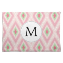 personalized monogram in Ikat Pink and  mint Placemat