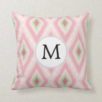 personalized monogram in Ikat Pink and  mint Throw Pillow