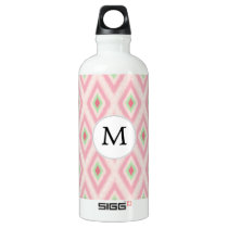 personalized monogram in Ikat Pink and  mint Water Bottle