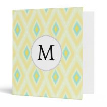 personalized monogram in Ikat yellow and aqua 3 Ring Binder