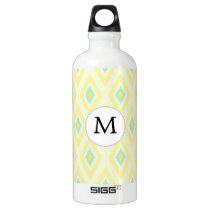 personalized monogram in Ikat yellow and aqua Aluminum Water Bottle