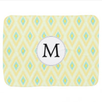 personalized monogram in Ikat yellow and aqua Baby Blanket