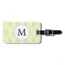 personalized monogram in Ikat yellow and aqua Bag Tag