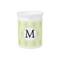 personalized monogram in Ikat yellow and aqua Beverage Pitcher