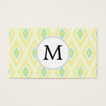 personalized monogram in Ikat yellow and aqua Business Card