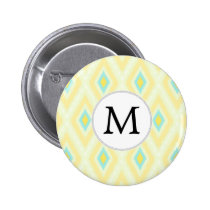 personalized monogram in Ikat yellow and aqua Button