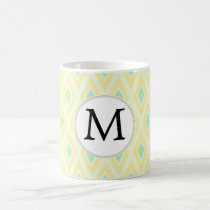 personalized monogram in Ikat yellow and aqua Coffee Mug