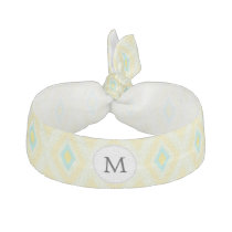 personalized monogram in Ikat yellow and aqua Elastic Hair Tie