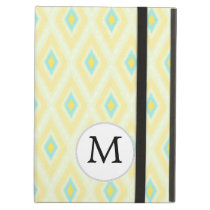 personalized monogram in Ikat yellow and aqua iPad Air Case