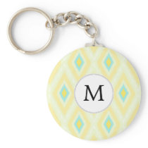 personalized monogram in Ikat yellow and aqua Keychain