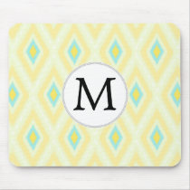 personalized monogram in Ikat yellow and aqua Mouse Pad
