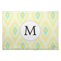 personalized monogram in Ikat yellow and aqua Placemat