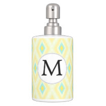 personalized monogram in Ikat yellow and aqua Soap Dispenser And Toothbrush Holder