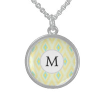 personalized monogram in Ikat yellow and aqua Sterling Silver Necklace