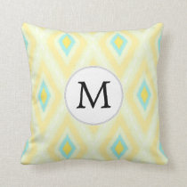 personalized monogram in Ikat yellow and aqua Throw Pillow