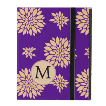Personalized Monogram Indigo Floral pattern iPad Case