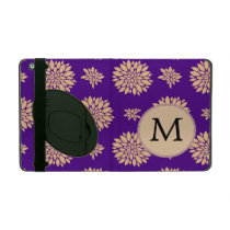 Personalized Monogram Indigo Floral pattern iPad Folio Cases