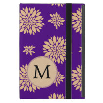 Personalized Monogram Indigo Floral pattern iPad Mini Cover