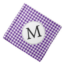 Personalized Monogram Indigo Houndstooth Pattern Bandana
