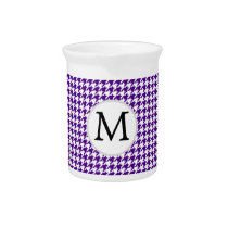 Personalized Monogram Indigo Houndstooth Pattern Drink Pitcher