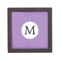 Personalized Monogram Indigo Houndstooth Pattern Gift Box