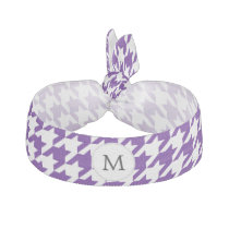 Personalized Monogram Indigo Houndstooth Pattern Hair Tie