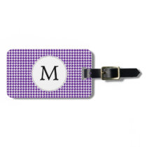 Personalized Monogram Indigo Houndstooth Pattern Luggage Tag