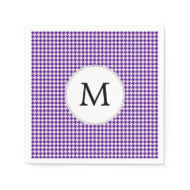 Personalized Monogram Indigo Houndstooth Pattern Napkin