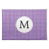 Personalized Monogram Indigo Houndstooth Pattern Placemat