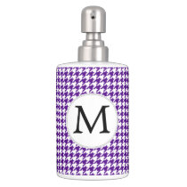Personalized Monogram Indigo Houndstooth Pattern Soap Dispenser & Toothbrush Holder