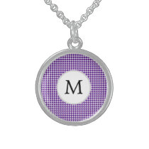 Personalized Monogram Indigo Houndstooth Pattern Sterling Silver Necklace