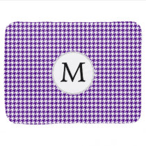 Personalized Monogram Indigo Houndstooth Pattern Swaddle Blanket