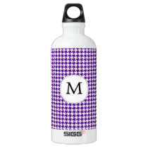 Personalized Monogram Indigo Houndstooth Pattern Water Bottle