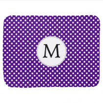 Personalized Monogram Indigo Polka Dots Pattern Baby Blanket