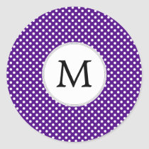 Personalized Monogram Indigo Polka Dots Pattern Classic Round Sticker