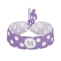 Personalized Monogram Indigo Polka Dots Pattern Hair Tie