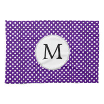 Personalized Monogram Indigo Polka Dots Pattern Kitchen Towel