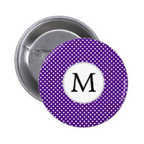 Personalized Monogram Indigo Polka Dots Pattern Pinback Button