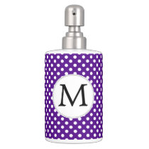 Personalized Monogram Indigo Polka Dots Pattern Soap Dispenser And Toothbrush Holder