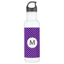 Personalized Monogram Indigo Polka Dots Pattern Stainless Steel Water Bottle